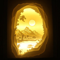 Silhouette Adventure paper cut Light box Night light Accent Lamp Christmas gift wedding birthday gift idea shadow box