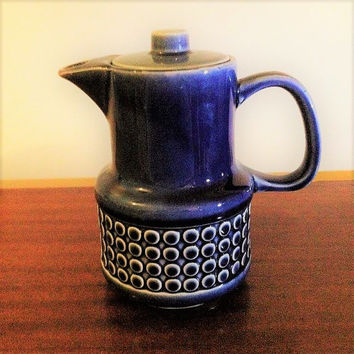 Vintage 1960s Japanese Ceramic Teapot and Lid, Dark Blue Glazed Finish, Raised Circular Pattern / Retro Teapot
