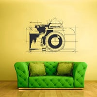 Wall Decal Vinyl Sticker Decals Photo Camera Sketch Drawing Canon Minolta Retro Old School (z2462)