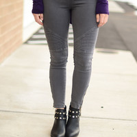 Go For It Moto Pants- Dark Grey