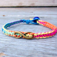 Rainbow Infinity Bracelet His Hers Couples Hemp Jewelry