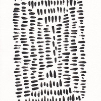 Modern painting. Small black and white brush print. Abstract art for living room. Original artwork.