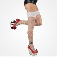 Fence Net Lace-Top Thigh High White