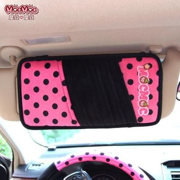 Cute women car accessories styling decoration CD storage holder clip on sun visor type automobile product red pink girl