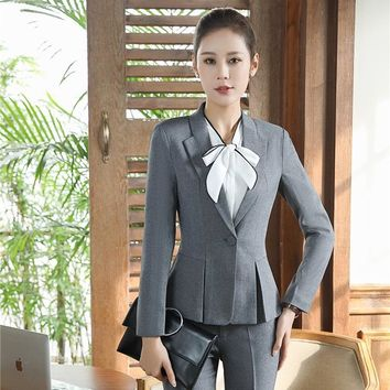 Formal Office Uniform Designs Women Blazers and Jackets Coat Slim Grey Ladies Female Work Wear Clothes