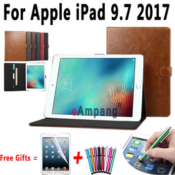 100% Top Quality Crazy Horse Pattern PU Leather Smart Cover for Apple New iPad 9.7 2017 Case for iPad 9.7 2017 Case with Stand