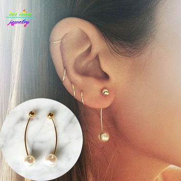 Fashion 14K Gold/Silver Copper Ball Pearl Bar Stud Earrings For Women Ear Jacket Double Sides Back Earrings CE063