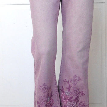 Size 6 Womens Purple Jeans Beaded Lace Embellished hippie boho gypsy cowgirl glam style clothes bohemian southwest flair bell bottoms