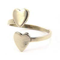 Heart Ring - Solid Silver White Bronze - Adjustable