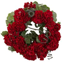 "17"" Geranium Wreath Floral Decor"