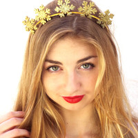 Snowflakes Christmas Crown,  Holiday headband, Winter Headpiece,  Greek Goddess, Gold flower crown, Woodland Hair Wreath