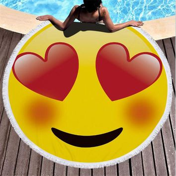 150cm Summer Large Round Beach Towels lovely emoji Printed Circle Beach Towel Serviette De Plage for Vacation Products