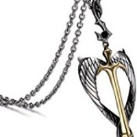 Aienid Cross Necklace, Stainless Steel Angel Wing Sword Pendant for Men Chain