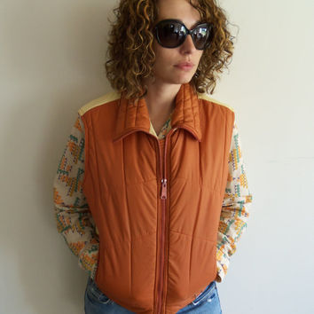 Tendy Orange 70s Puffy Vest Hipster Indie Funky Outdoor Camping