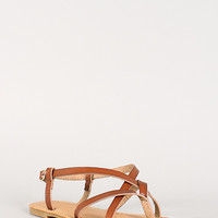Bamboo Cross Strap Open Toe Flat Sandal