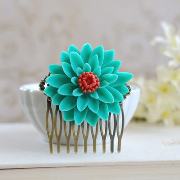 Large Teal Tangerine Chrysanthemum Flower Hair Comb.Turquoise Orange Flower Hair Comb, Bridal Bridesmaid Hair Comb Statement Hair Comb