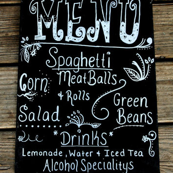 Wedding Menu Chalkboard Food Bar