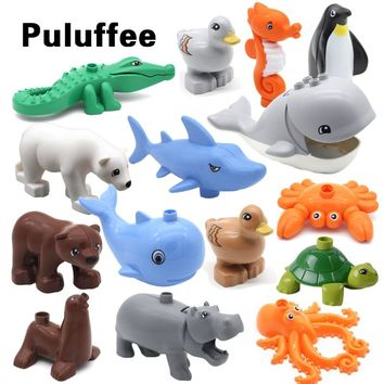 New Marine Life Series Building Blocks DIY accessory Bricks ocean Animals Dolphin Shark Penguin Whale Creative Educational Toys