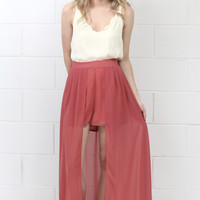 High Waist Caped Maxi Shorts {Dk. Salmon}