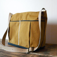 Canvas Diaper bag Medium tote bag mustard shoulderbag Leather adjustable strap