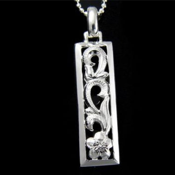 STERLING SILVER 925 HAWAIIAN PLUMERIA FLOWER SCROLL CUT OUT VERTICAL PENDANT