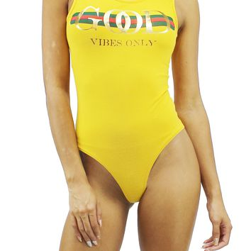 Good Vibe Only Yellow Round Neck Sleeveless Scoop Back Bodysuit