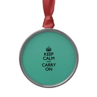 Acid Keep Calm And Carry On Mint Green Christmas Ornament