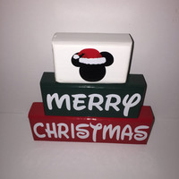 Santa Hat Mickey Merry Christmas Wood Stacking Blocks Painted with Decals Disney Lover White Green Red