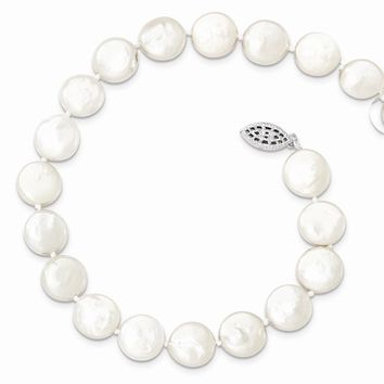 Sterling Silver 10-11mm White FreshWater Cultured Coin Pearl Necklace