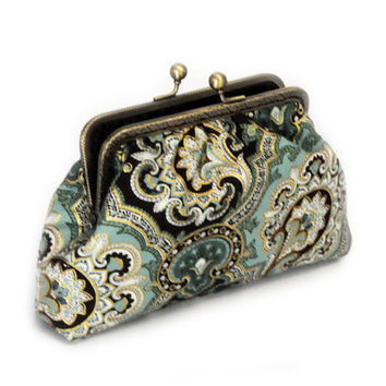 Bridal Clutch Purse - Green paisley clutch - Bridesmaid Clutch Purse - Wedding Clutch Purse - Evening Clutch Purse