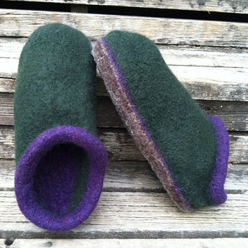 Men's Felted Wool Clogs/Slippers Size 12 Forest Green/Deep Purple