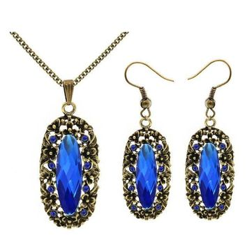 Vintage Oval Crystal Police Support Necklace and Earrings Set