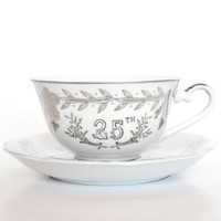 1960s Lefton 25th Anniversary Teacup and Saucer Silver