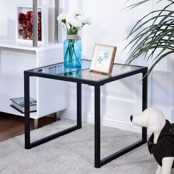 Modern Square metal Frame Side End Table with Tempered Glass Top