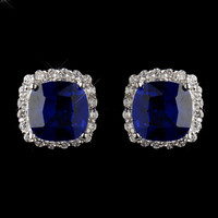 Sapphire Blue and Clear CZ Stud Earrings
