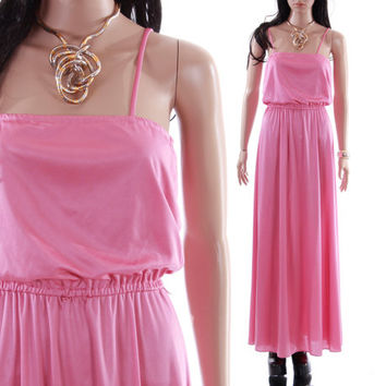 70s Pink Maxi Blouson Dress Boho Chic Goddess Long Stretchy Strappy Pastel Sheen Gown 1970s Disco Vintage Clothing Womens Size Small
