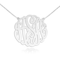Monogram Necklace - 1.5 inch Sterling Silver Handcrafted Monogram Initials - Personalized Initial Necklace - Made in USA