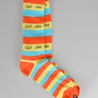 Odd Future Golf Wang Stripe Socks - Orange/Yellow