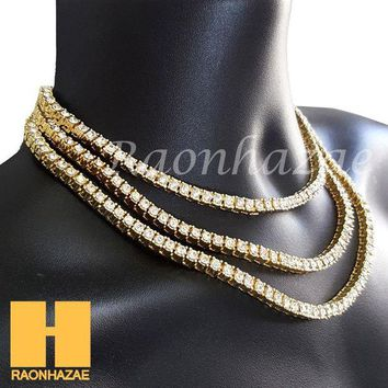ONETOW Hip Hop Iced Out Tennis Choker Necklace 1 Row Solitaire Lab Diamond 4.5mm Chain