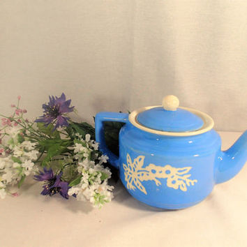 Harker Cameoware Zephyr Teapot with cover, White flower branch on Blue stoneware, Shabby Cottage Chic