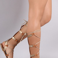 Strappy Metallic Gladiator Lace Up Flat Sandal- 2 Metallic Options