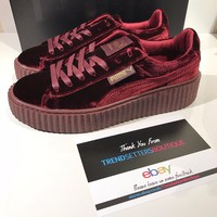 PUMA RIHANNA VELVET CREEPERS US UK 3 4 5 6 7 8 FENTY CREEPER BURGUNDY RED PURPLE