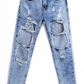 Blue Frayed Denim Pants