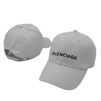 White Balenciaga Embroidered Embroidered Outdoor Baseball Cap Hats