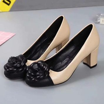 GUCCI Flower Women Fashion Leather High Heels Shoes