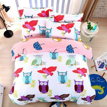 3pcs/4pcs Owl Superman Batman bedding sets cartoon bed linen bed set duvet cover bed sheet pillowcase king/queen/full/twin 6size