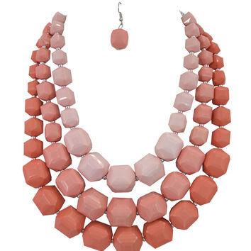 Retro Mod 50's Chunky Square Beads Layered Statement Necklace