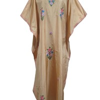 Womens Kaftan House Dress Brown Kashmiri Embroidered Caftan Evening Maxi Dress: Amazon.ca: Clothing & Accessories