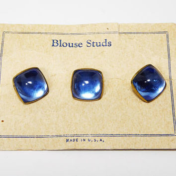 Vintage Blouse Studs -  Cuff Shirt Studs Blue Lucite Tuxedo Buttons on Original Card New Old Stock - Vintage 1950's 1960's Era Accessory