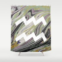 AQUARIUS Shower Curtain by KJ Designs
